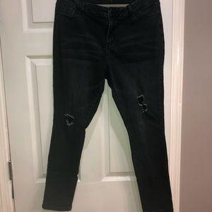 YMI black distressed skinny high rise jeans 16